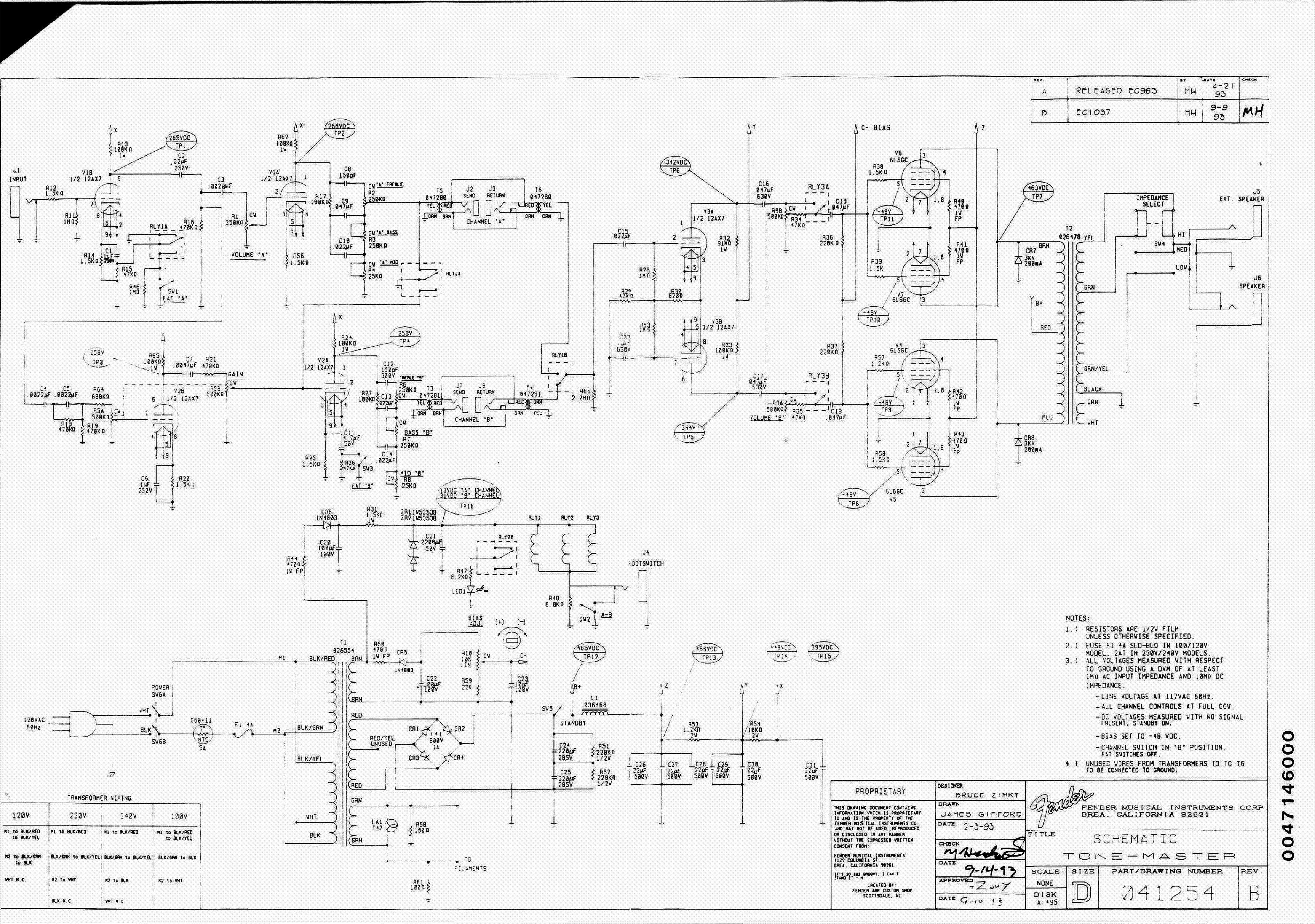Fender Tone Master Wiring Schematic on