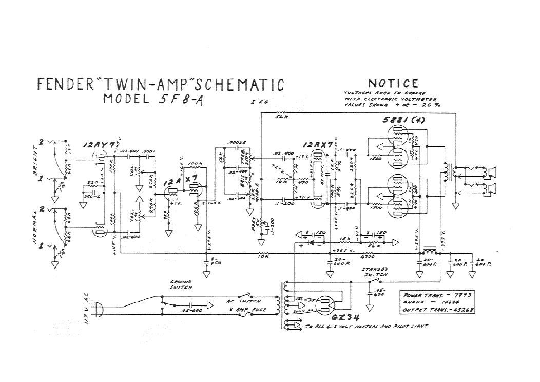 FENDER TWIN-AMP 5F8A SCH Service Manual download, schematics, eeprom