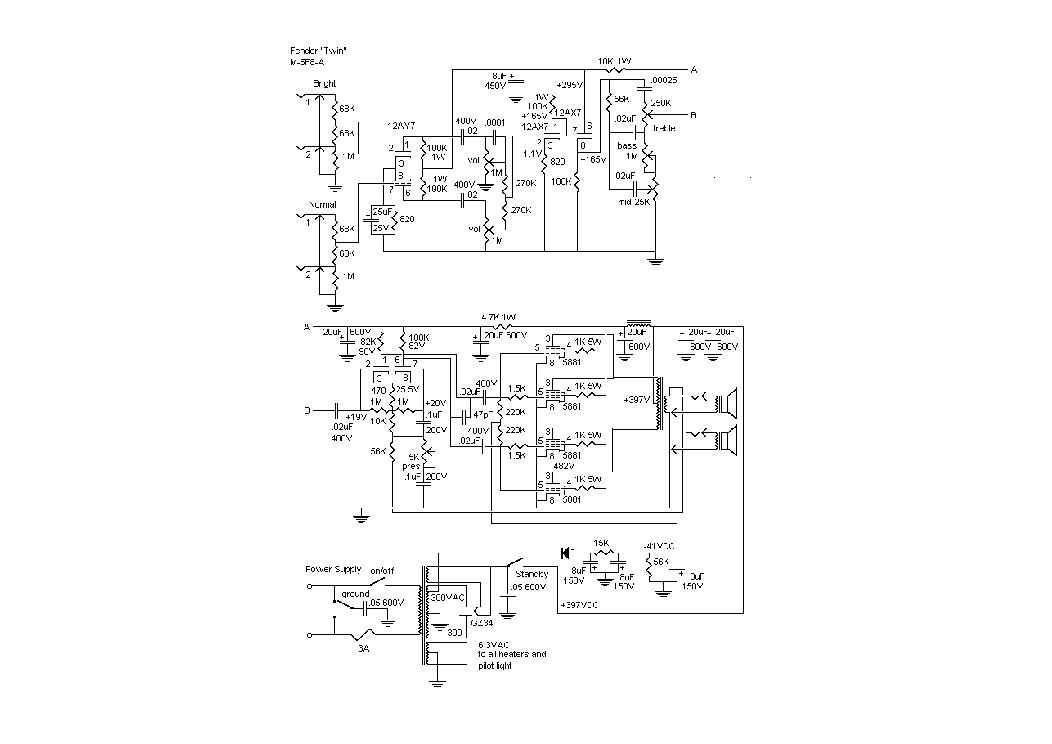 FENDER TWIN M-5F8A SCH Service Manual download, schematics, eeprom