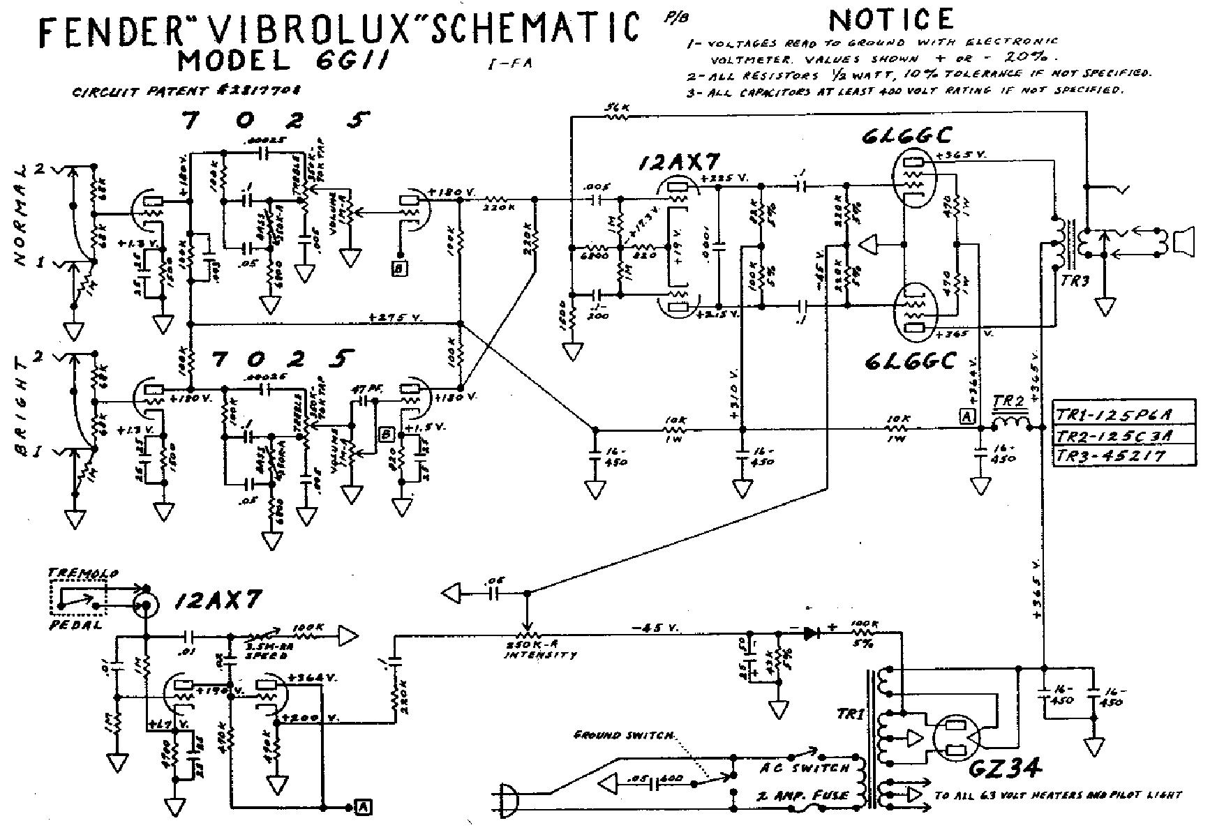 FENDER VIBROLUX 6G11 SCHEM Service Manual download, schematics ...