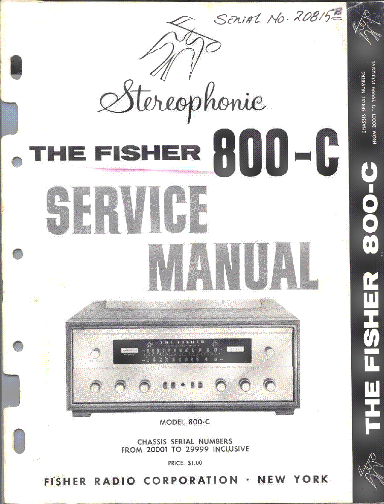 FISHER 800-C SM Service Manual download, schematics, eeprom, repair