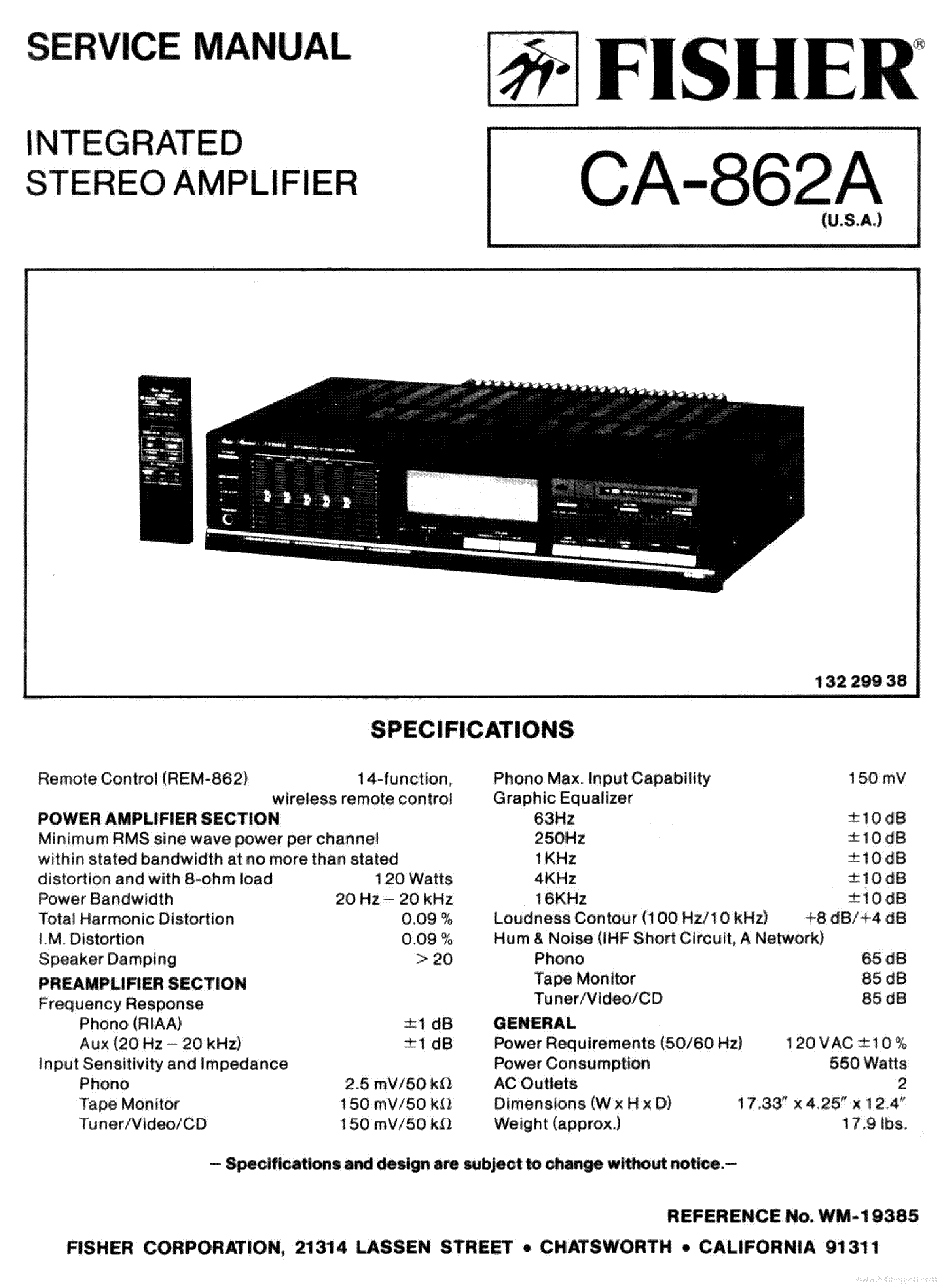 FISHER CA-862A AMPLIFIER service manual (1st page)