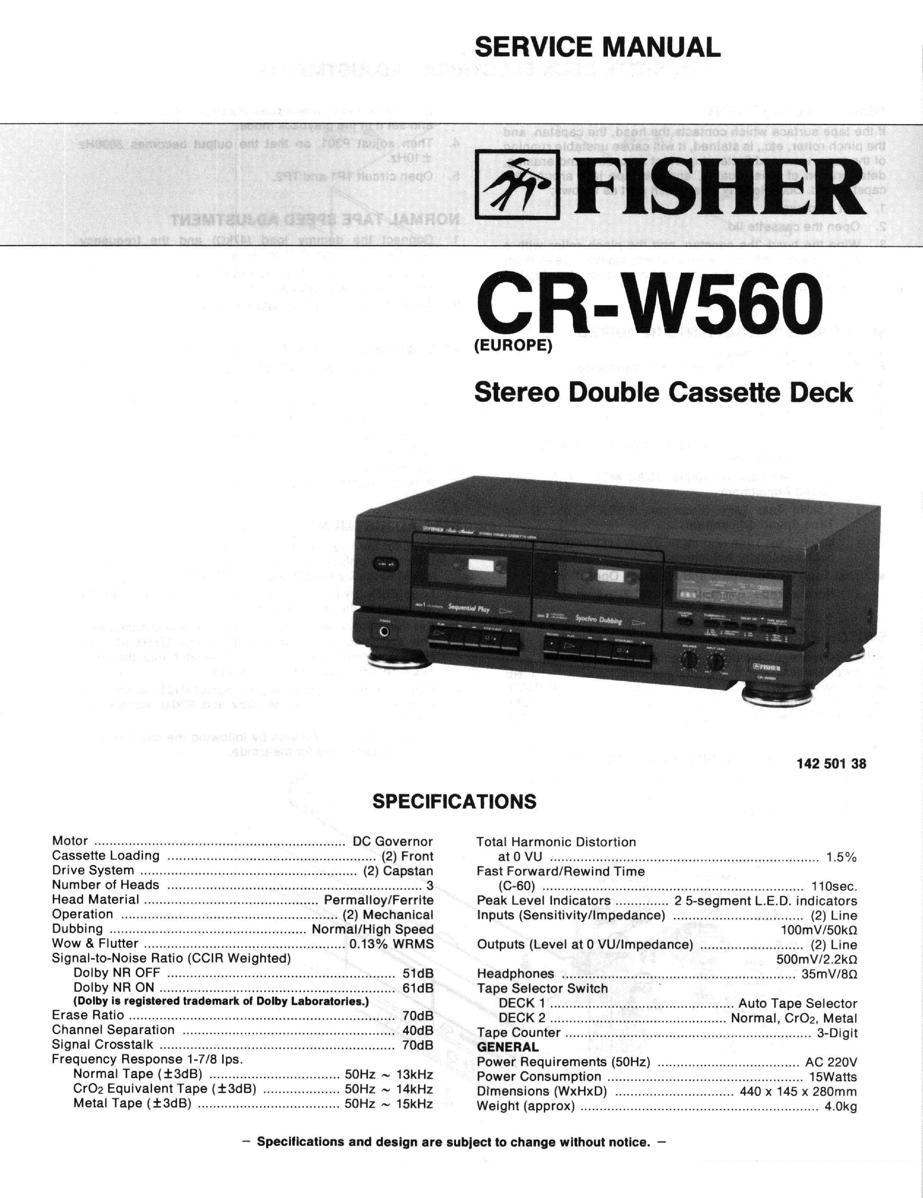 FISHER CR-W560 SCH service manual (1st page)