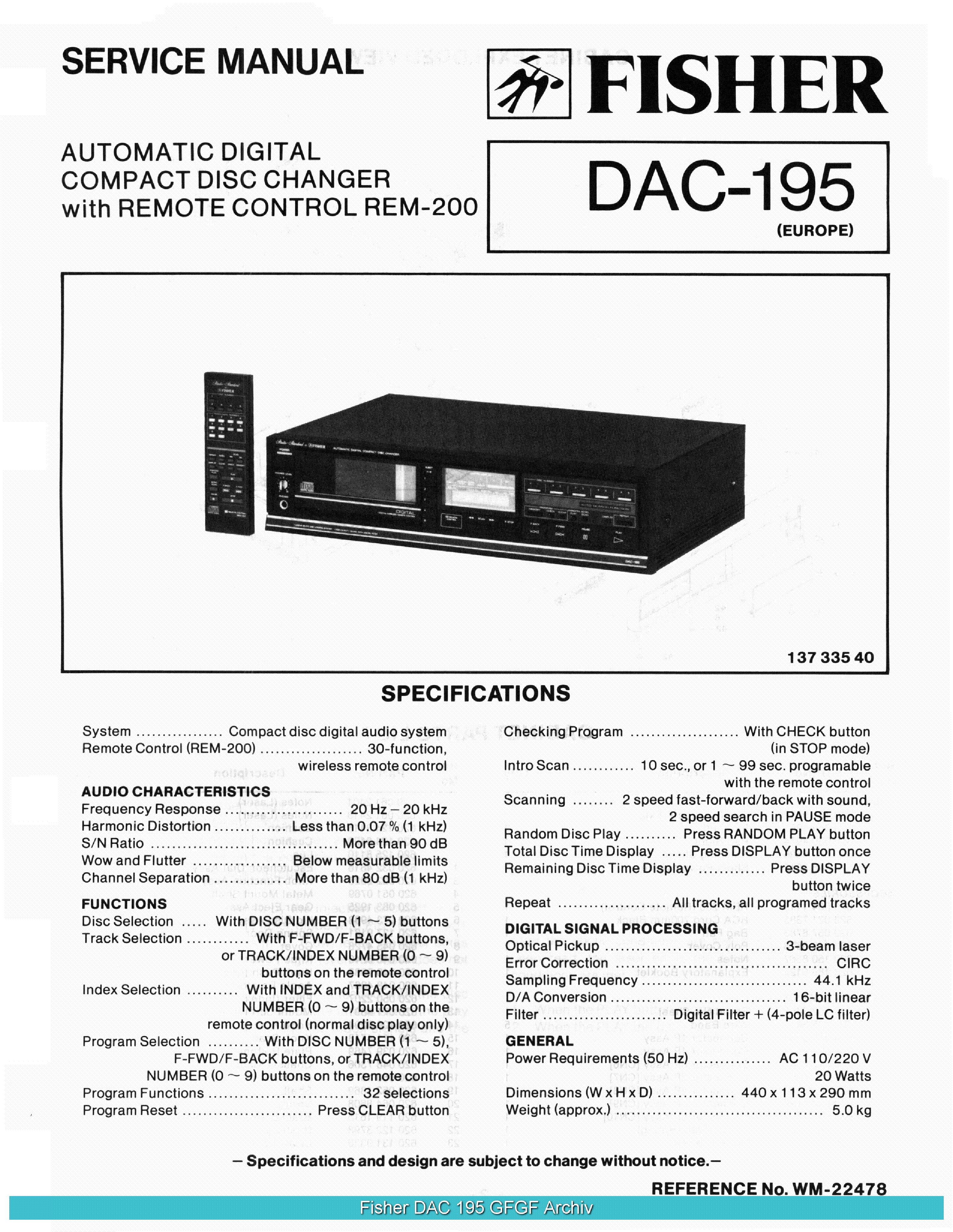 FISHER DAC195 SCH service manual (1st page)