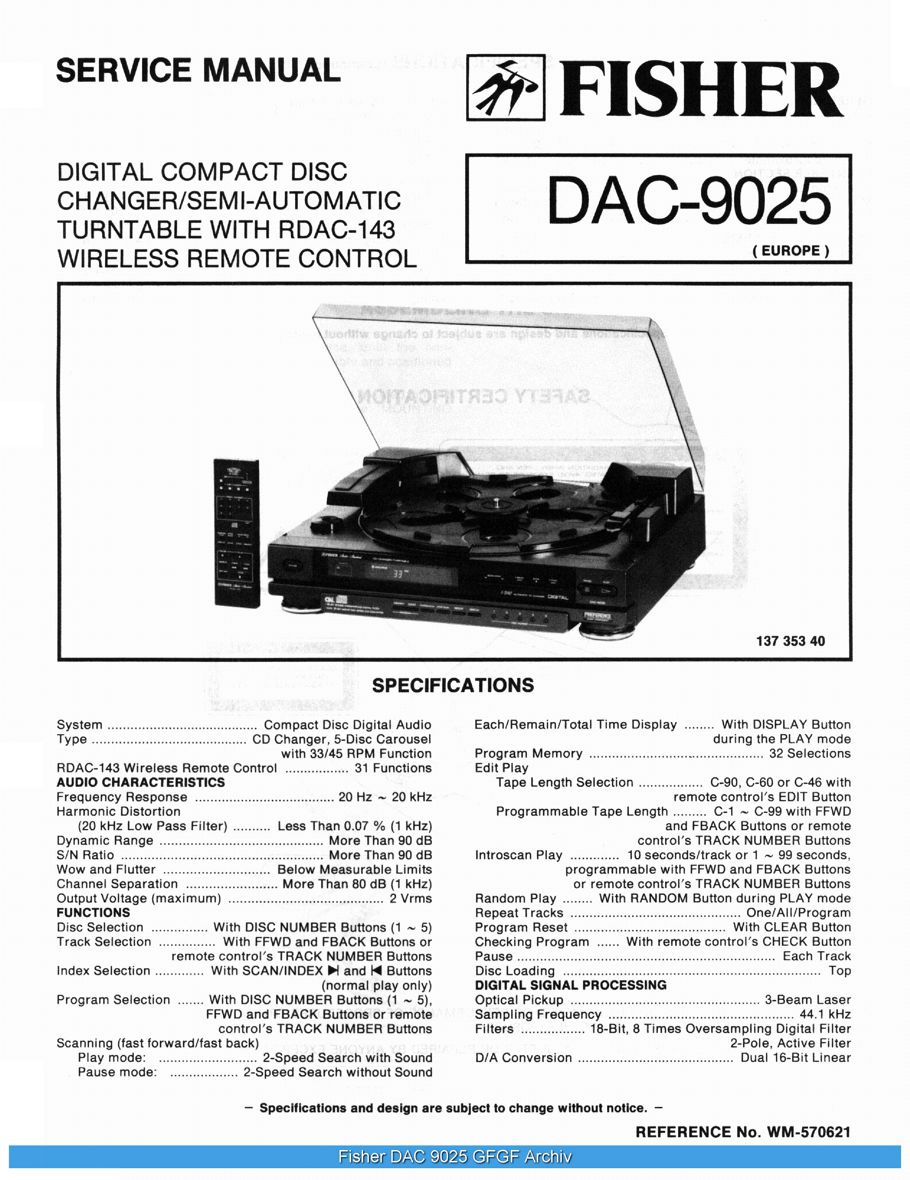 FISHER DAC9025 SCH service manual (1st page)