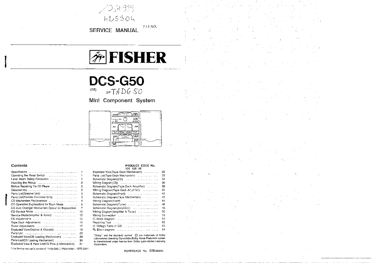 fisher dcs-g50 service manual (1st page)