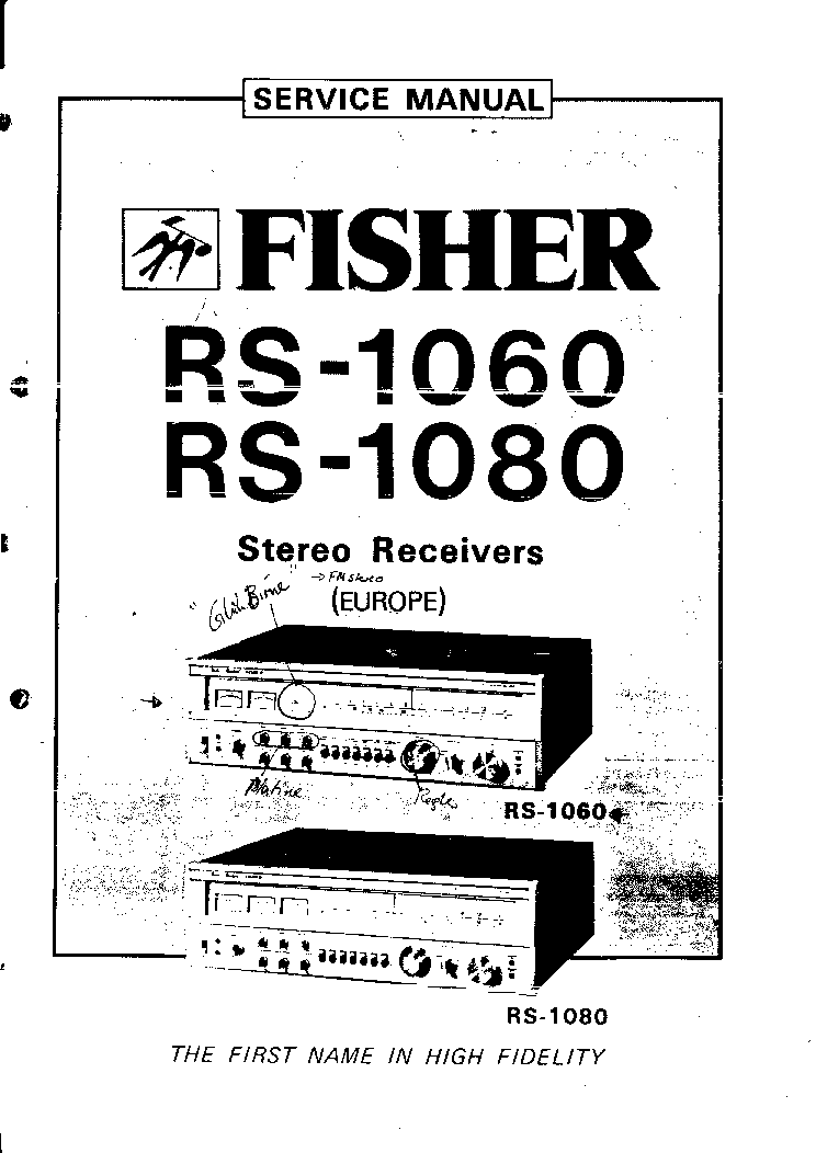 Fisher Rs 1060 1080 Stereo Receiver Europe Sm Service