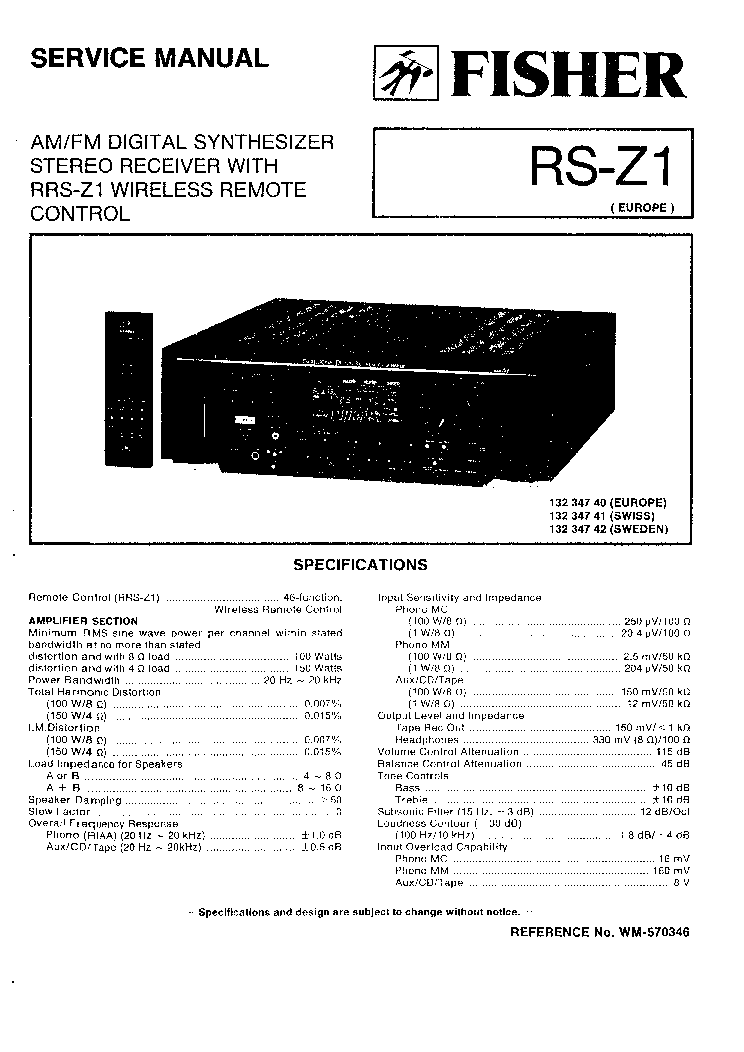 fisher rs z1 sm service manual download schematics. Black Bedroom Furniture Sets. Home Design Ideas