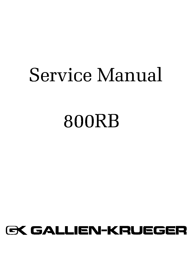 GALLIEN-KRUEGER 800RB SM service manual (1st page)