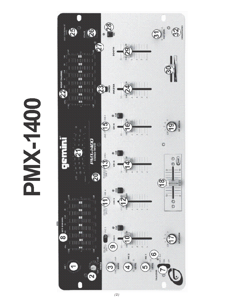 Gemini Pmx1400 Mixer Service Manual Download  Schematics