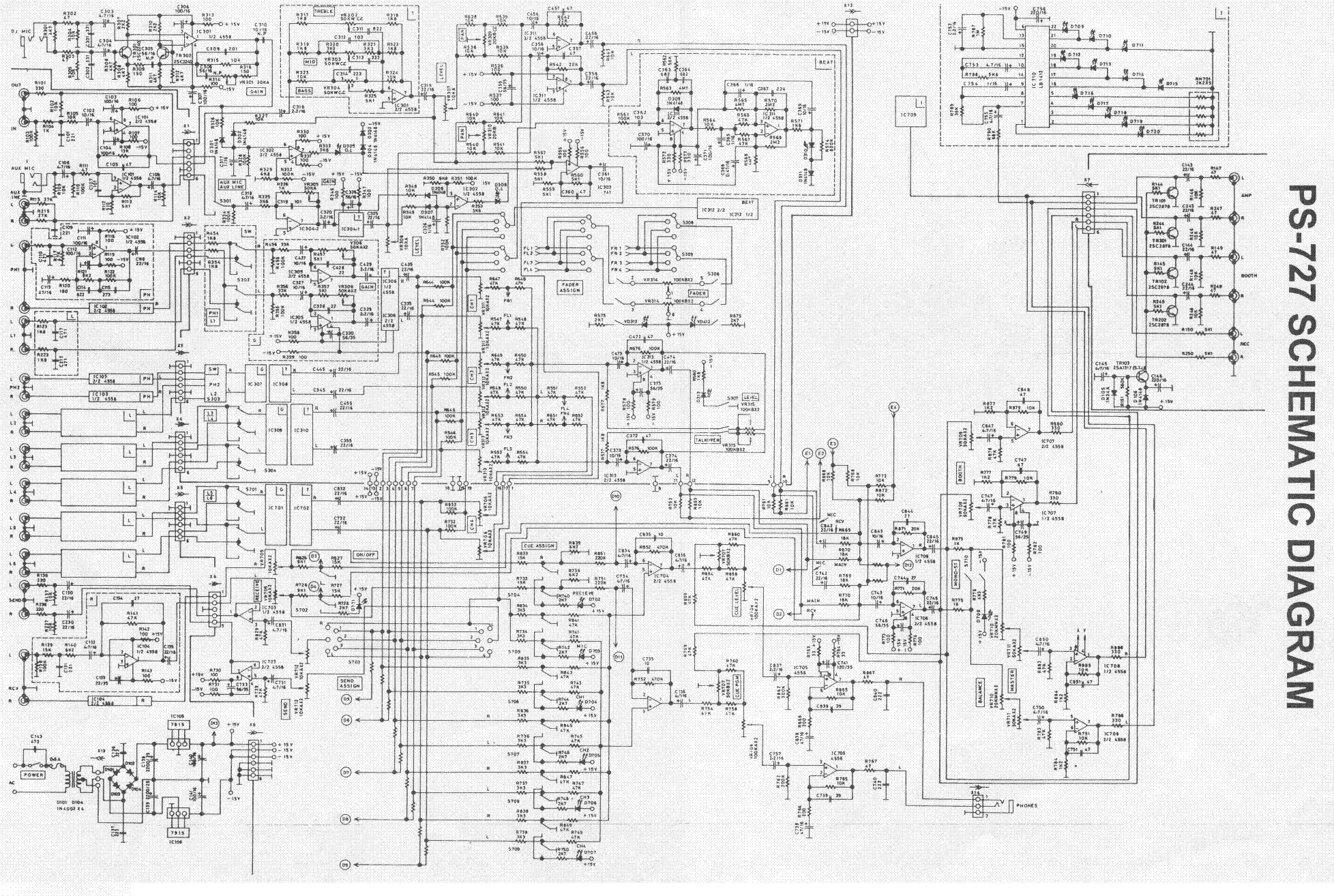 Gemini Sound Ps 626 676 Pro Stereo Preamp Mixer Sm Service