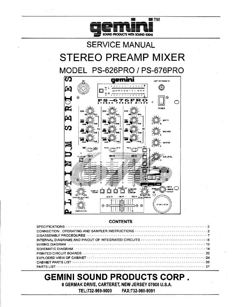 gemini sound ps 626 676 pro stereo preamp mixer sm service manual rh elektrotanya com car stereo service manual uher 724 stereo service manual