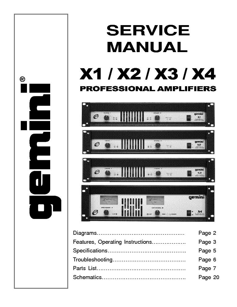 Gemini X1 X2 X3 X4 Service Manual Download  Schematics