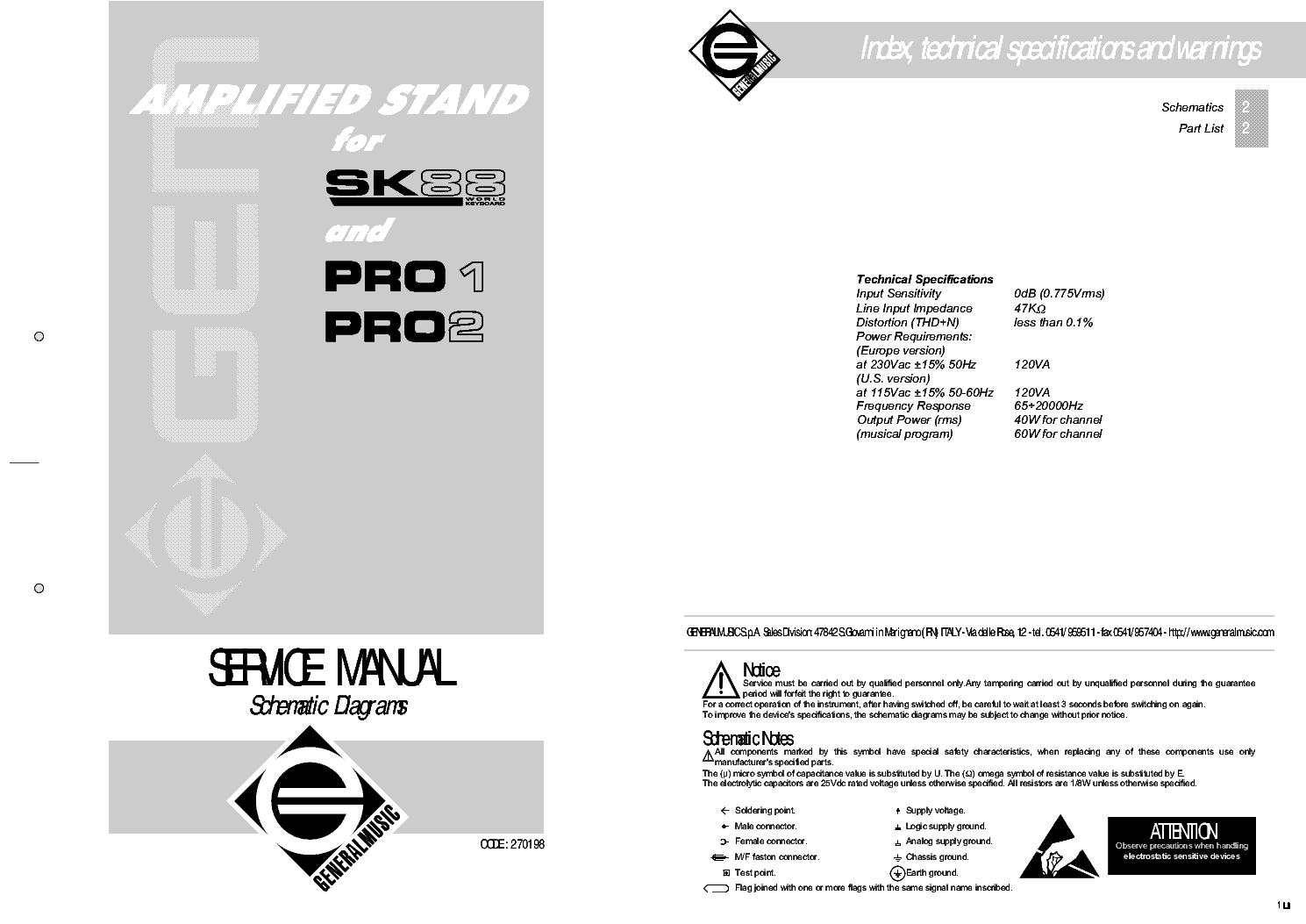Generalmusic Amplified Stand For Sk88 Pro1 Pro2 Service Manual