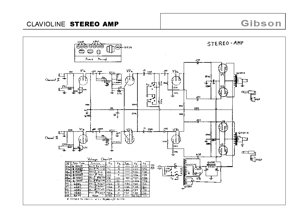 Gibson Clavioline Stereo Amp Schematic Service Manual