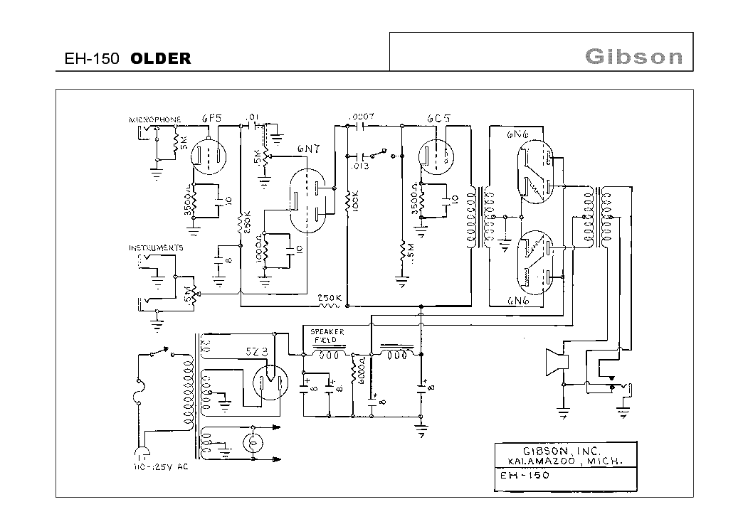 Gibson Eh 150 Older Sch Service Manual Download Schematics Eeprom