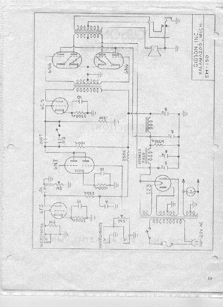 gibson eh 150 amplifier schematic service manual download  schematics  eeprom  repair info for