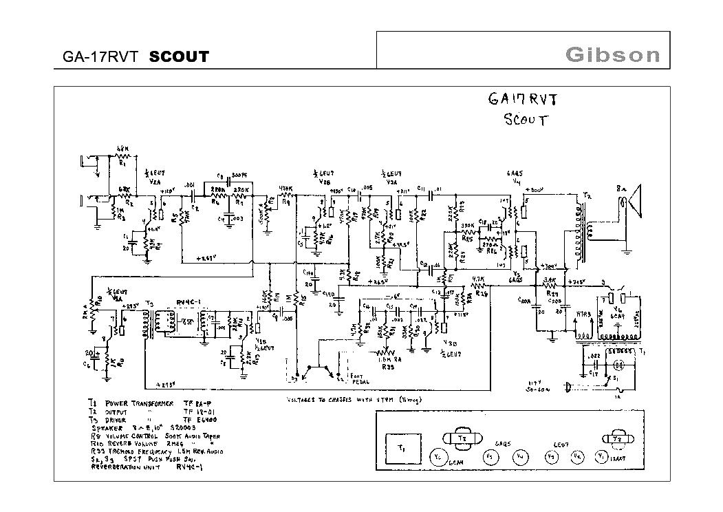 GIBSON GA-17RVT SCOUT SCHEMATIC Service Manual download, schematics