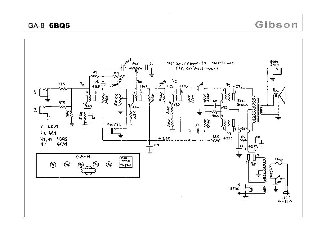 gibson ga 5 schematic 6aq5 tube amp schematic