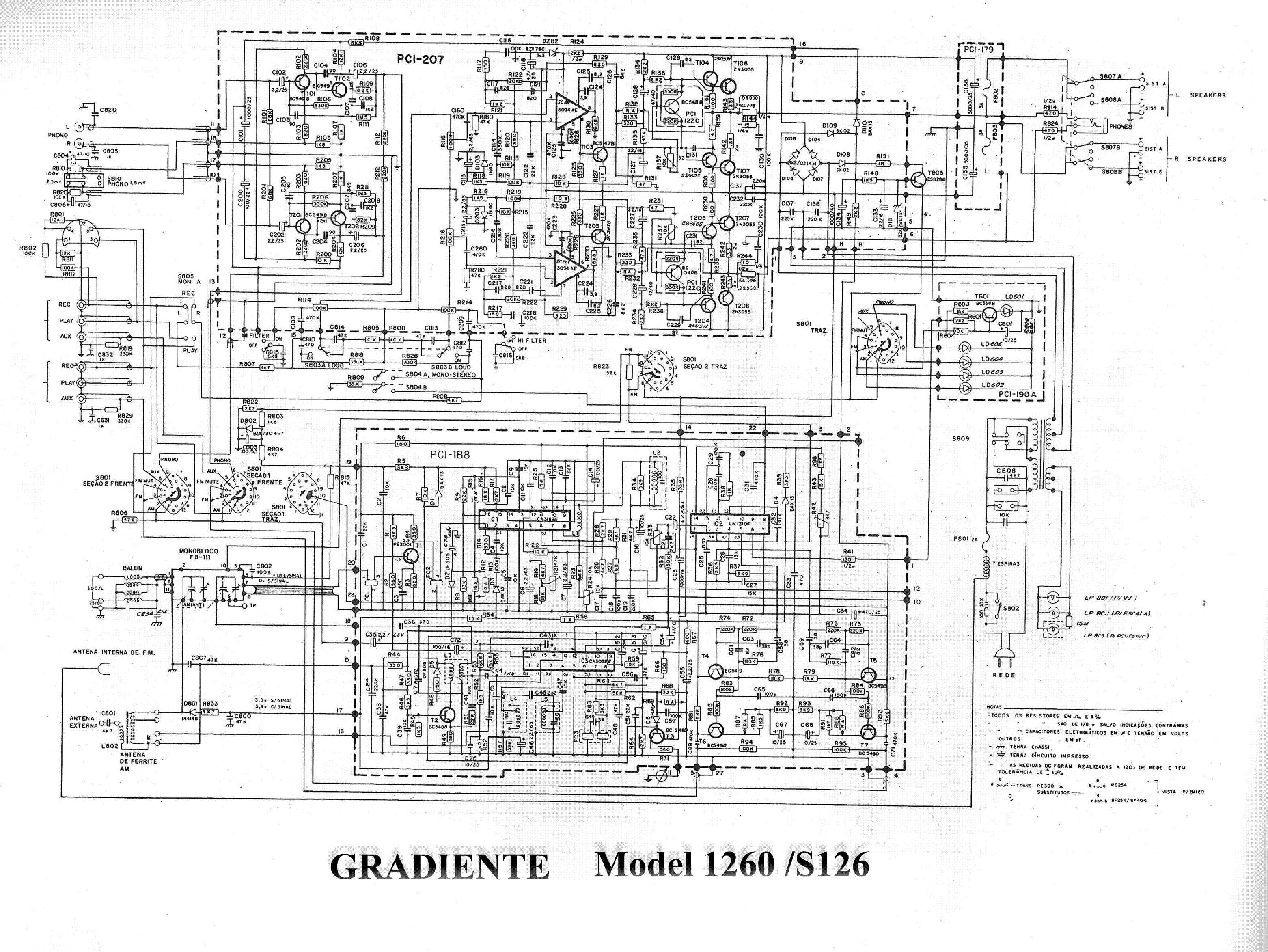 GRADIENTE MODEL 1260 S126 SCH service manual