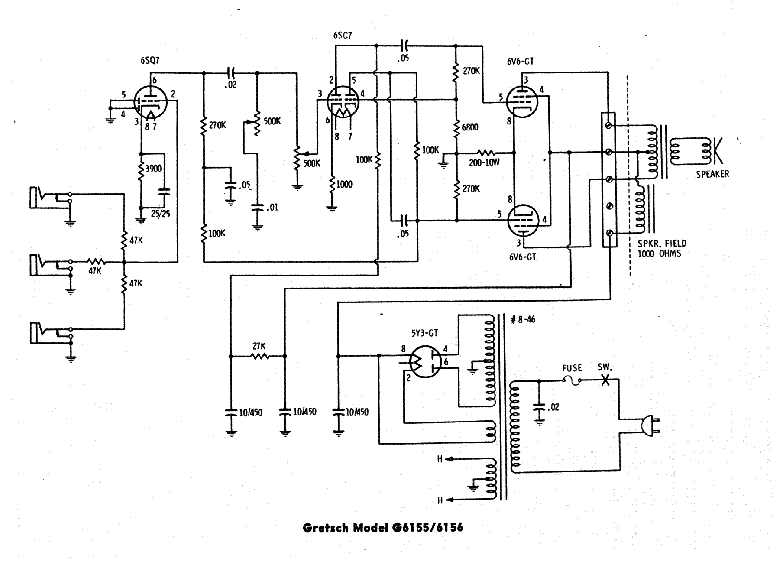 gretsch g6155 g6156 sch service manual download  schematics  eeprom  repair info for electronics