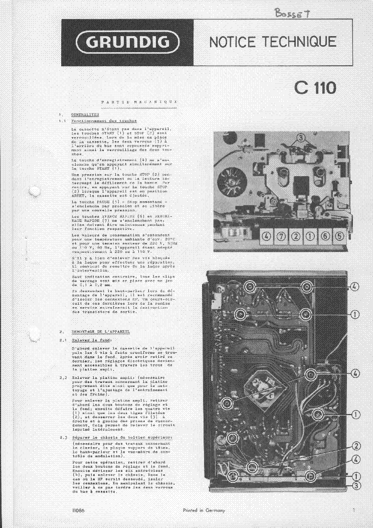 GRUNDIG C110 service manual (1st page)