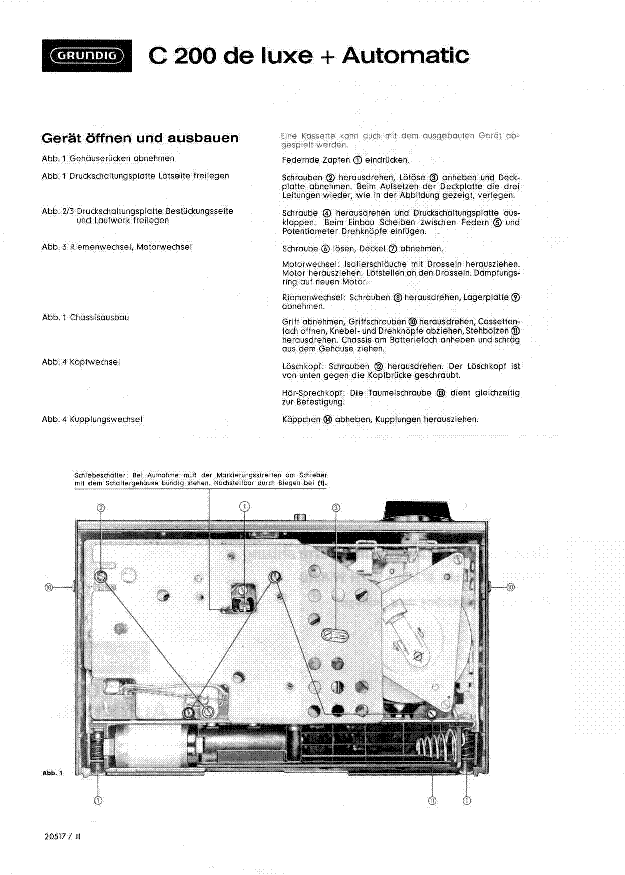 GRUNDIG C200 DE-LUXE service manual (1st page)