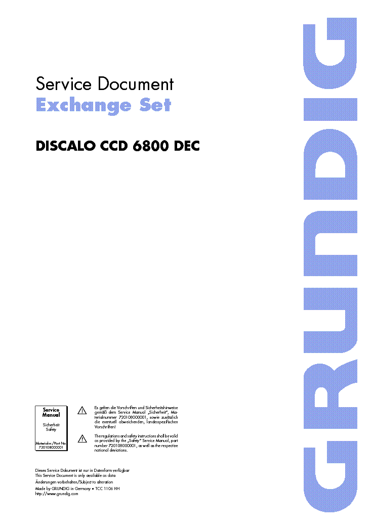 GRUNDIG DISCALO CCD6800DEC service manual (1st page)