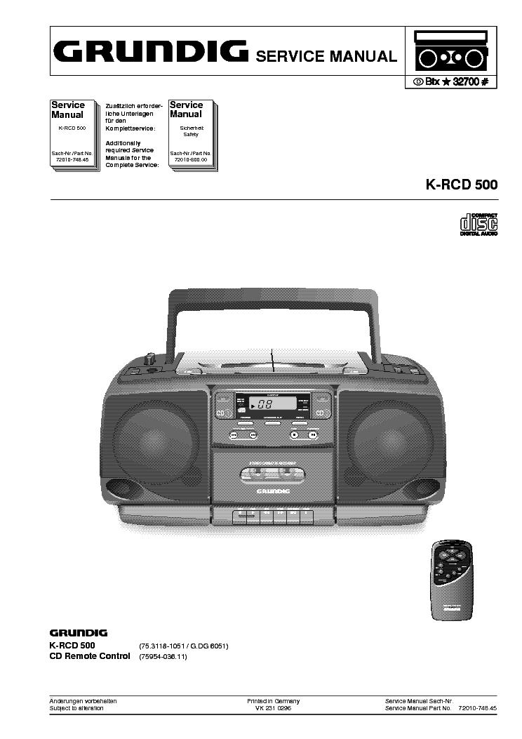 GRUNDIG K-RCD500-SM Service Manual download, schematics, eeprom