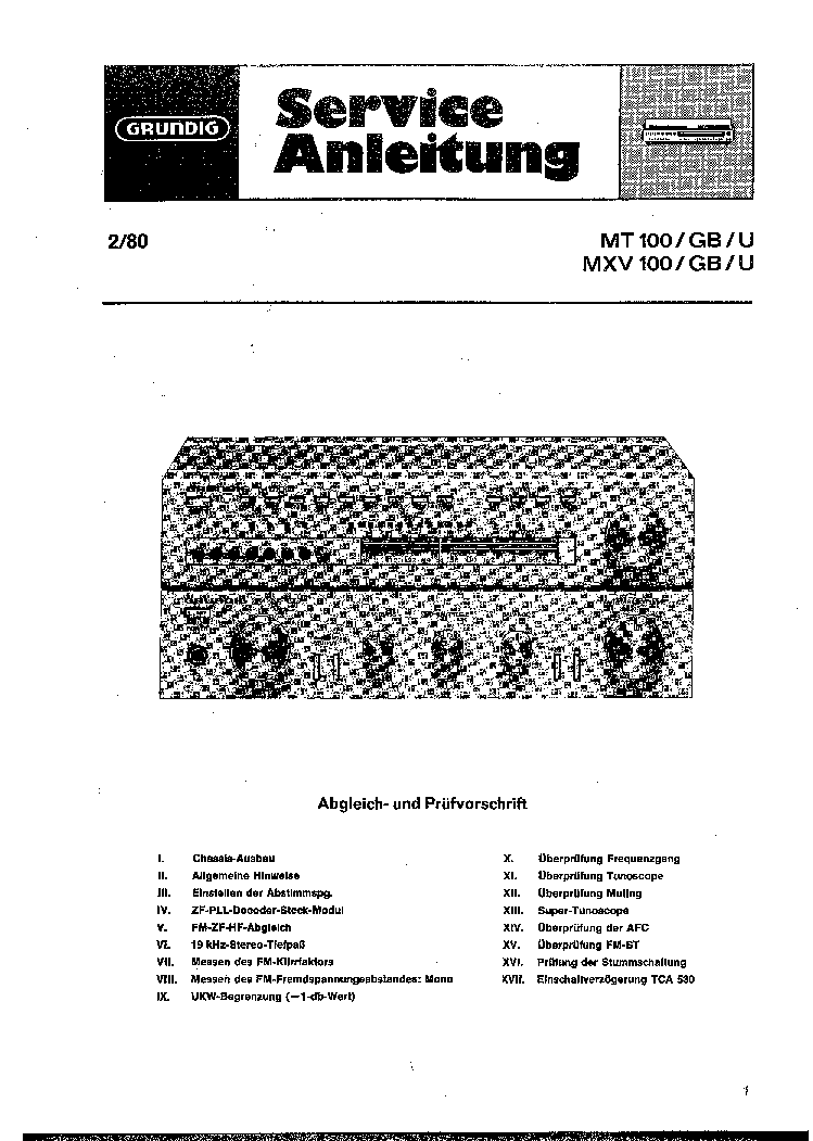 GRUNDIG MT-100 MXV-100 SCH service manual