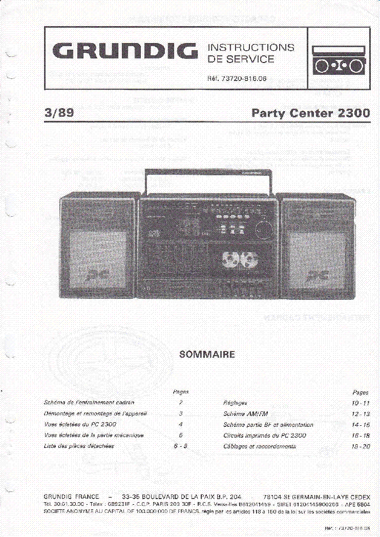 GRUNDIG PARTY CENTER 2300 service manual (1st page)