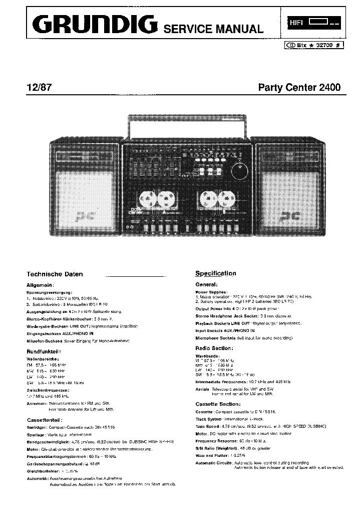 GRUNDIG PARTY CENTER 2400 SM service manual (1st page)