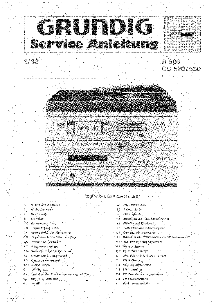 GRUNDIG R500 CC520 530 service manual (2nd page)