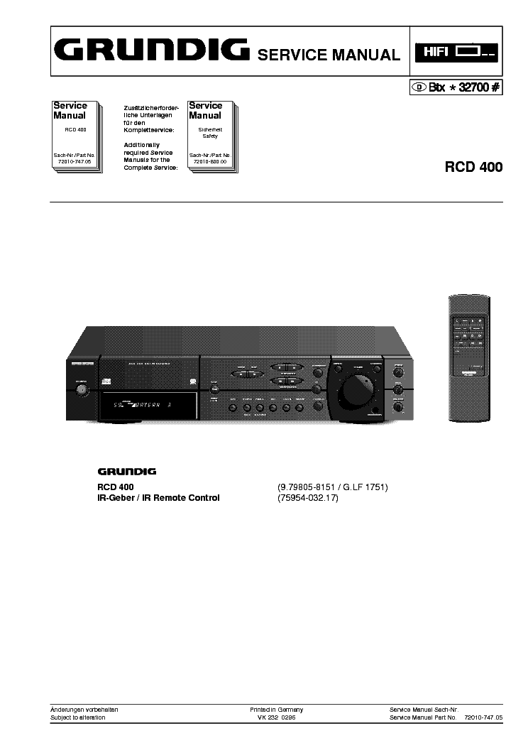 GRUNDIG RCD-400 SM service manual (1st page)