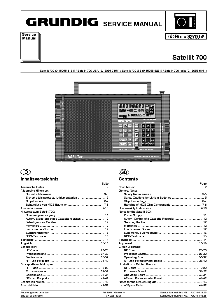 Grundig satellit 700 multi band radio service manual for Manual de acuicultura pdf