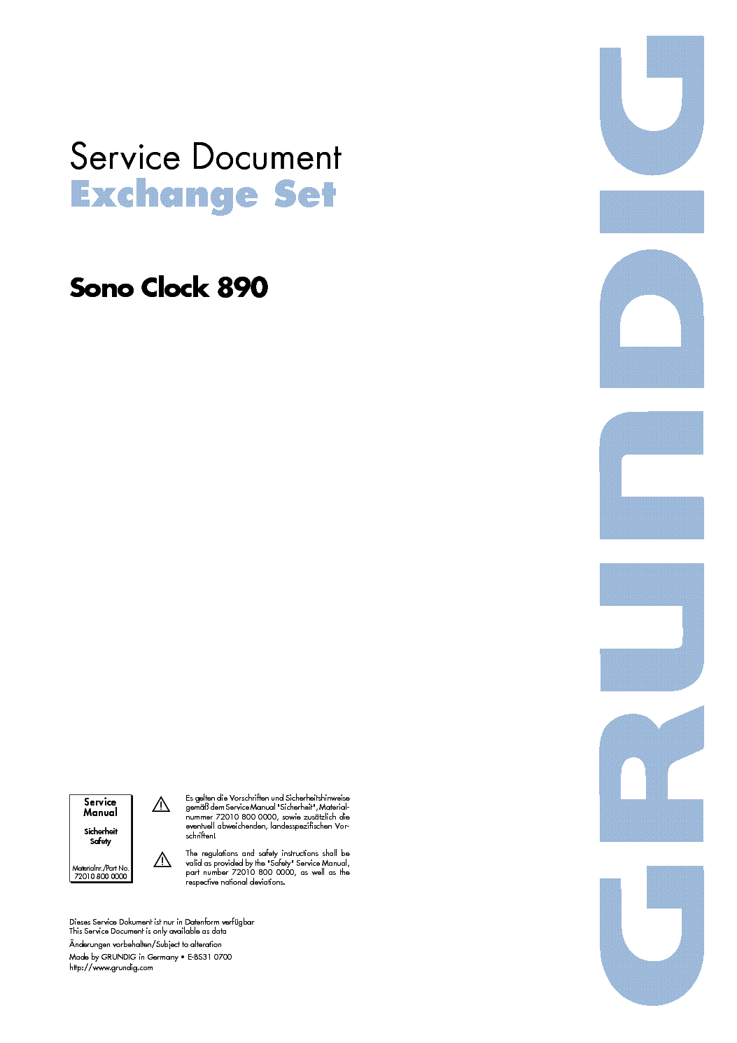 GRUNDIG SONOCLOCK 890 service manual (1st page)