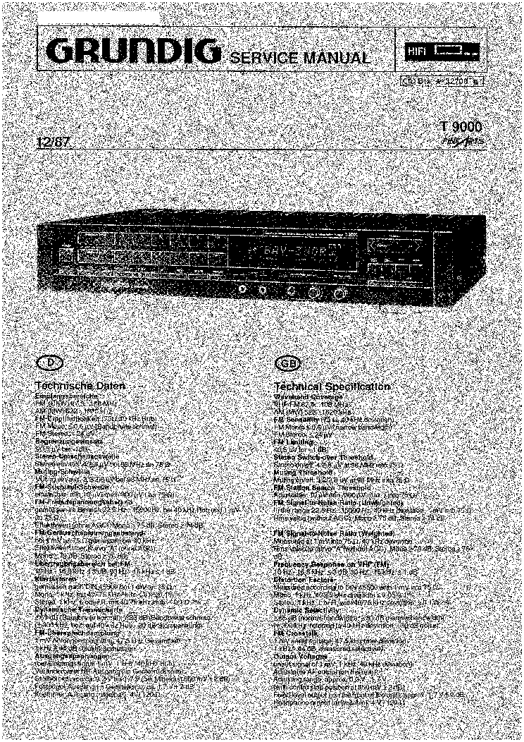 Grundig T9000 Sm Service Manual Download  Schematics  Eeprom  Repair Info For Electronics Experts