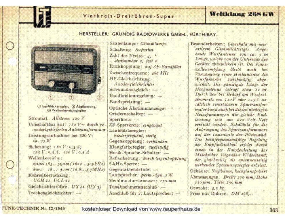 GRUNDIG WELTKLANG-268GW service manual (1st page)