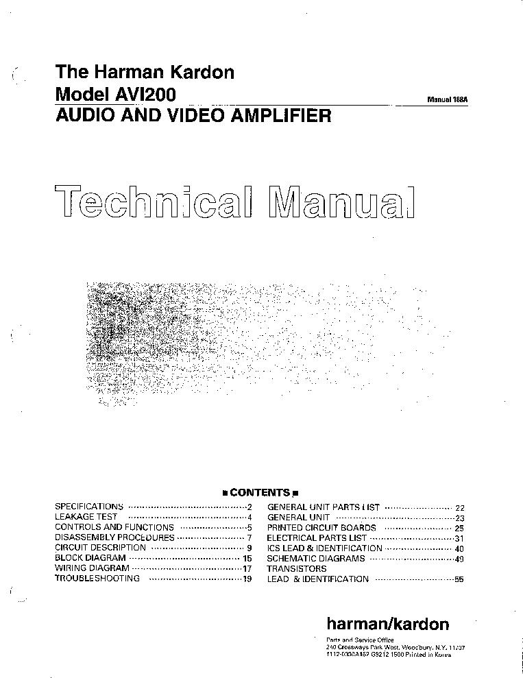 HARMAN-KARDON AV1-200 A-V RECEIVER Service Manual download