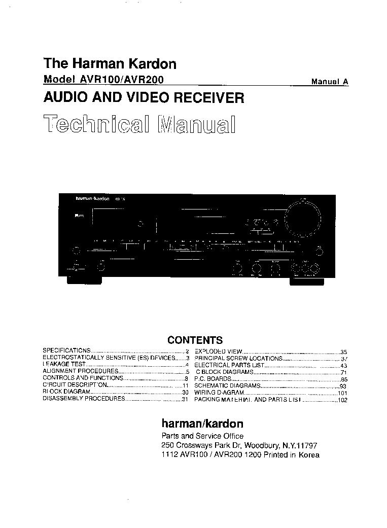 Harman Kardon 230 Ballad Stereo Tube Pa Sch Service Manual Download  Schematics  Eeprom  Repair