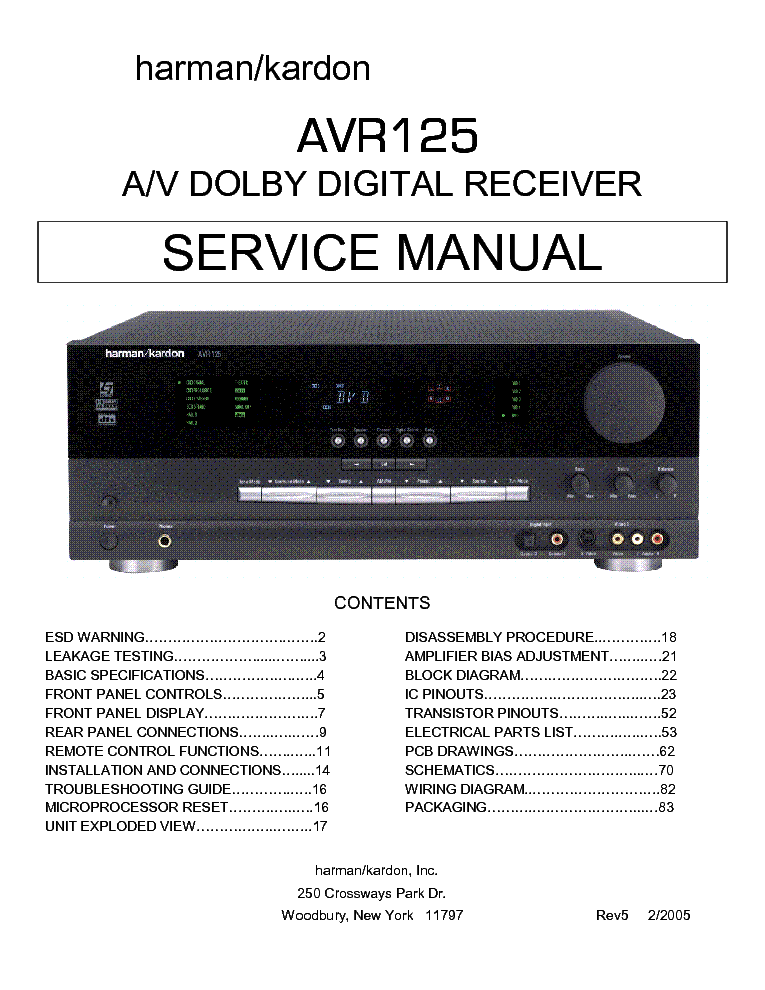 Harman kardon Avr 130 Service Manual free on