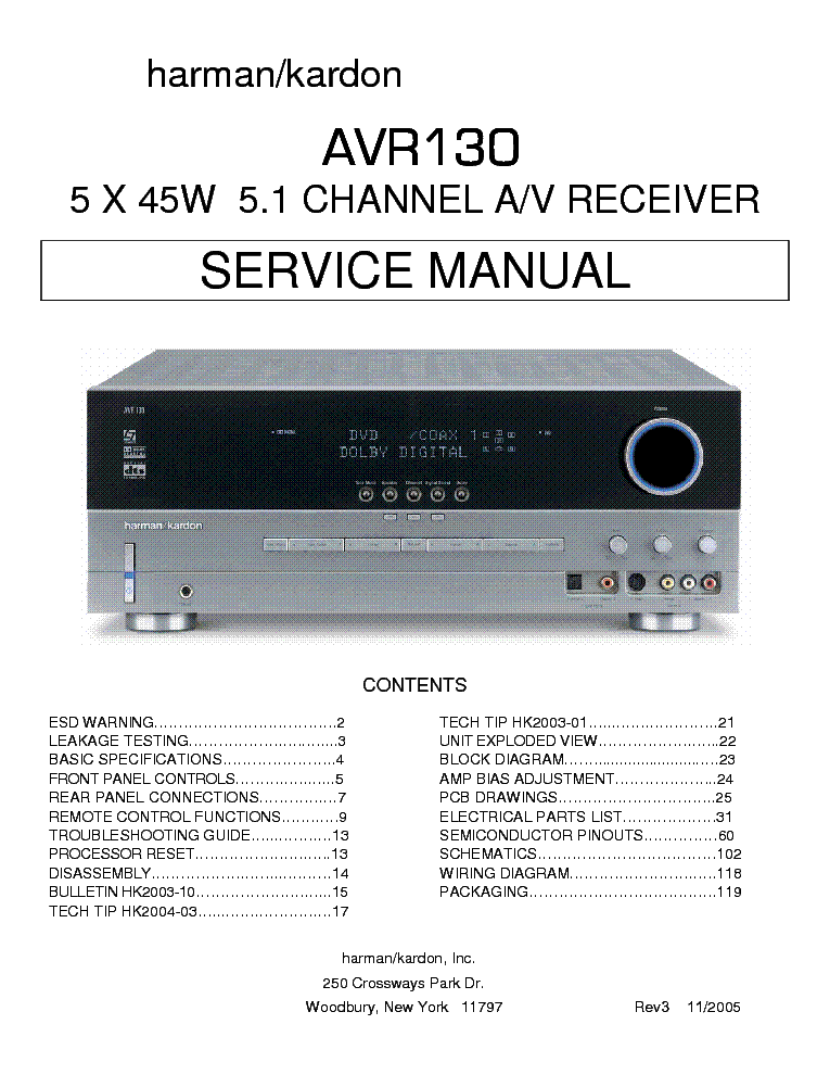 harman kardon avr 130 channel 5 1 av receiver service manual rh elektrotanya com Harman Kardon AVR 140 Harman Kardon AVR 2011