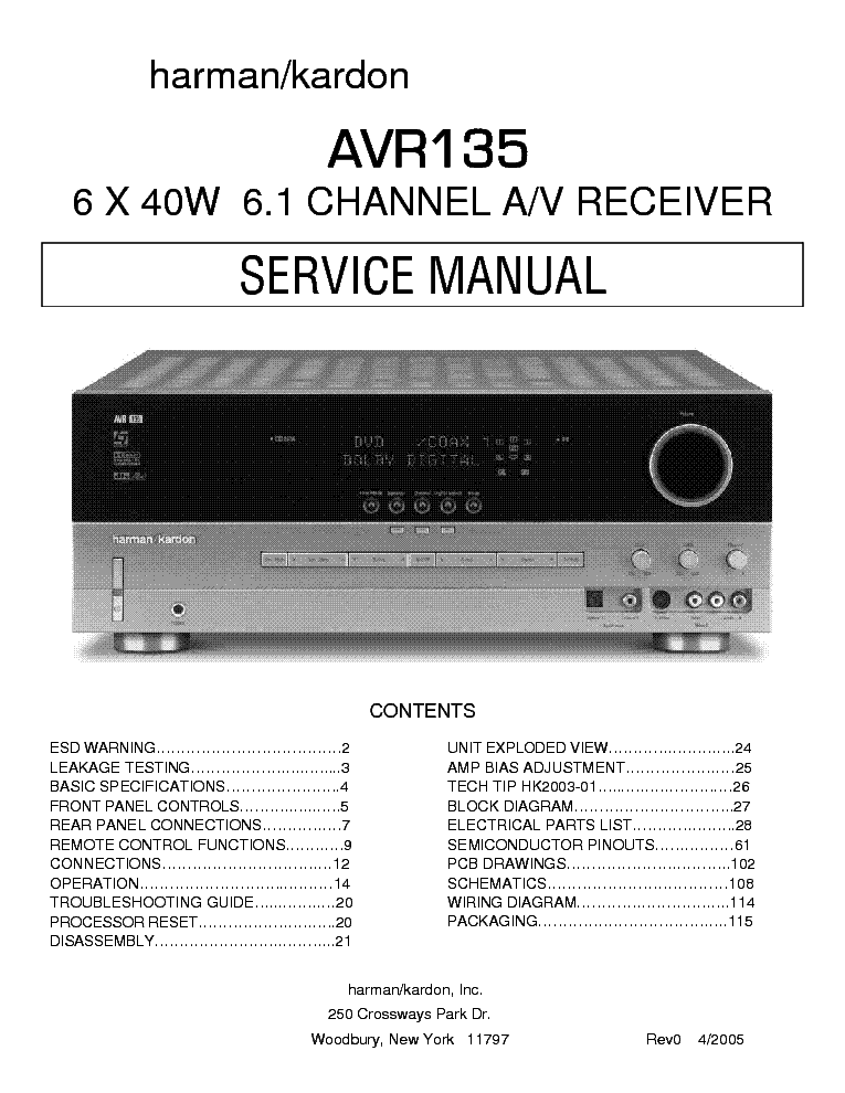 harman kardon avr 135 channel 6 1 receiver service manual download rh elektrotanya com Harman Kardon AVR 125 Harman Kardon AVR 135 Xbox 360