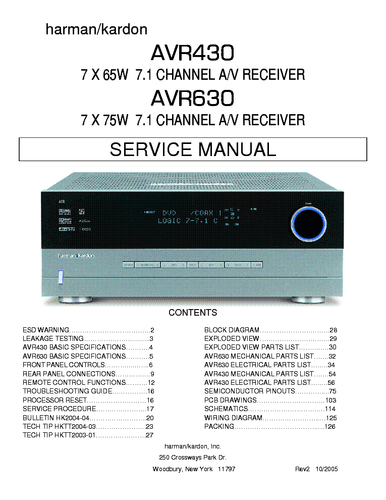 HARMAN-KARDON AVR-430 630 SM Service Manual download, schematics ...