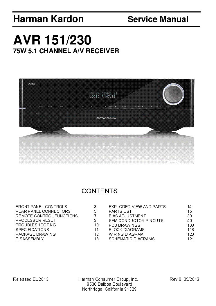 HARMAN-KARDON AVR151-230 REV.0 service manual (1st page)