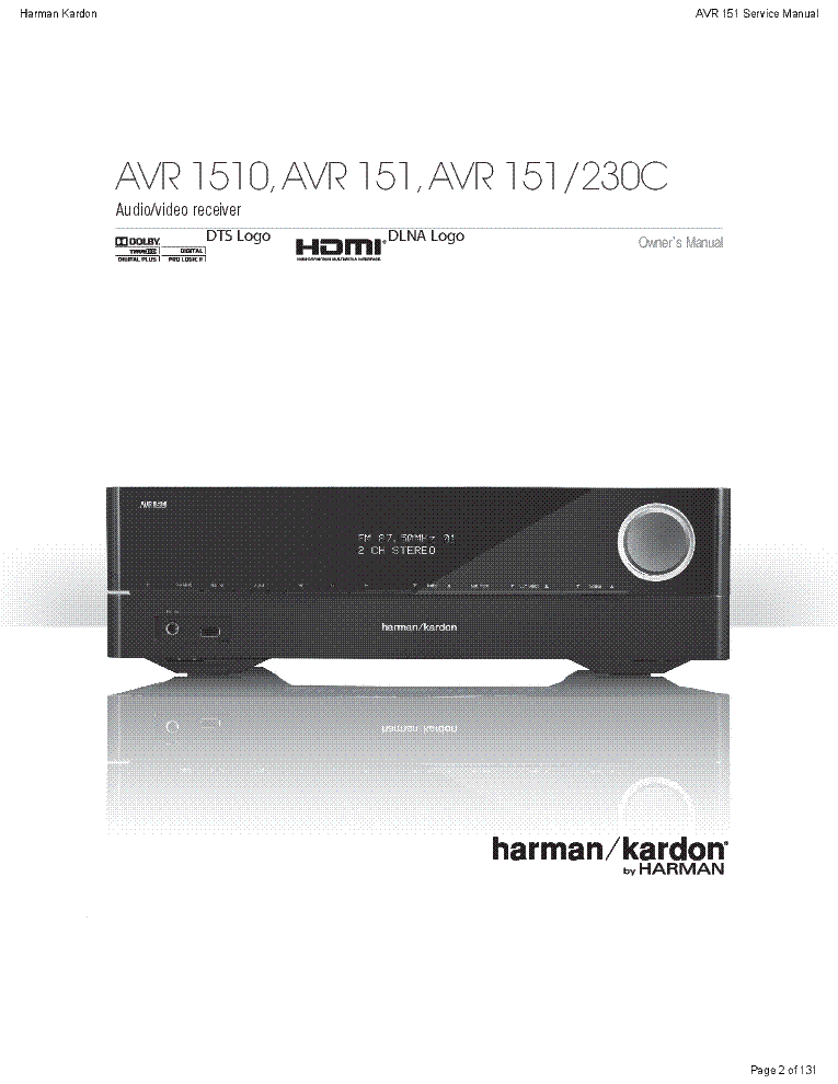 HARMAN-KARDON AVR151-230 REV.0 service manual (2nd page)