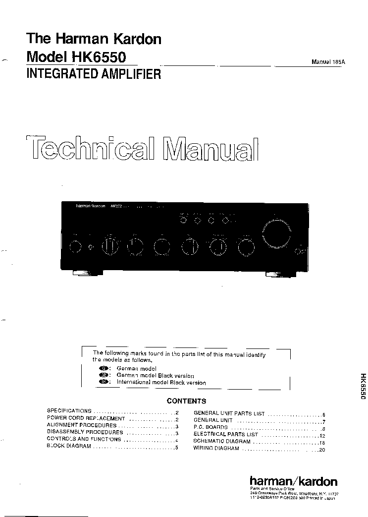HARMAN-KARDON HK-6550 Service Manual download, schematics, eeprom