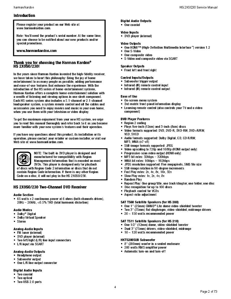 HARMAN-KARDON HS-280 HS-230 SERVICE MANUAL Service Manual