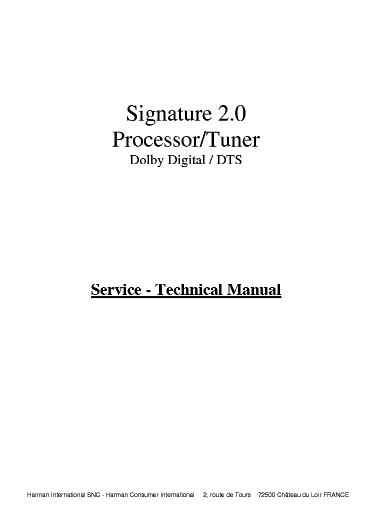 HARMAN-KARDON SIGNATURE-2.0 SM service manual (1st page)