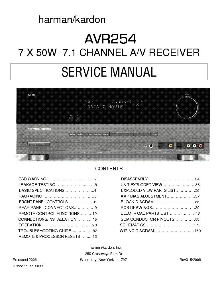harman kardon 7 1 ch av receiver avr 254 service manual download rh elektrotanya com Harman Kardon AVR 630 Harman Kardon AVR 3700